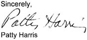 Patty Harris testimonial signature