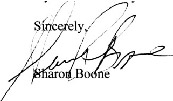 Sharon Boone testimonal signature